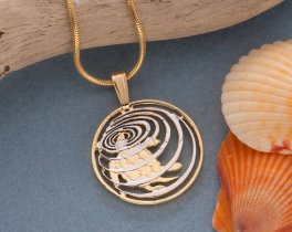 """Turtle Pendant and Necklace, Cayman Islands 10 Cents Hand Cut, 14 Karat Gold and Rhodium Plated,  .75 """" in Diameter, ( # 58 )"""