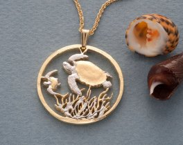 """Turtle Pendant and Necklace, Costa Rican Sea Turtle coin Hand Cut, 14K Gold & Rhodium plated, 1 1/8"""" in Diameter, ( # 400 )"""