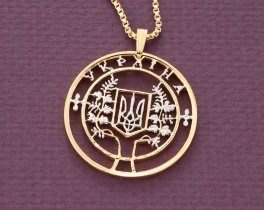 "Ukrainian Pendant and Necklace, Ukrainian 2000,000 Karovants coin Hand Cut, 14 Karat Gold and Rhodium plated, 1 1/4 "" in Diameter, ( # 600 )"
