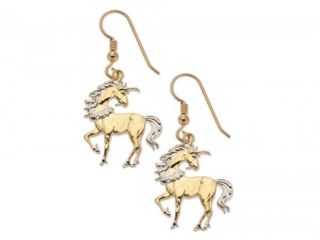 "Unicorn  Earrings, Chinese 10 Yuan Unicorn Coin Hand Cut, 14 Karat Gold and Rhodium plated, 14 K G/F Wires, 7/8"" in Diameter, ( # 484BE )"