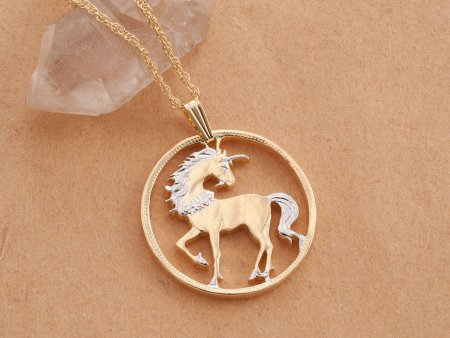 "Unicorn Pendant and Necklace, Chinese 10 Yuan Unicorn Coin Hand Cut, 14 Karat Gold and Rhodium plated, 1"" in Diameter, ( # 484 )"