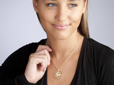 """Unicorn Pendant and Necklace, Chinese 10 Yuan Unicorn Coin Hand Cut, 14 Karat Gold and Rhodium plated, 1"""" in Diameter, ( # 484 )"""