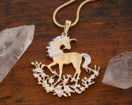 """Unicorn Pendant and Necklace, Chinese Unicorn Coin Hand Cut, 14 Karat Gold and Rhodium Plated, 1 1/8"""" in Diameter, ( # 462 )"""