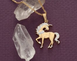 "Unicorn Pendant and Necklace, Chinese Unicorn Coin Hand Cut, 14 Karat Gold and Rhodium Plated, 7/8"" in Diameter, ( # 484B )"