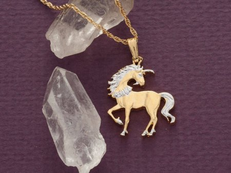 """Unicorn Pendant and Necklace, Chinese Unicorn Coin Hand Cut, 14 Karat Gold and Rhodium Plated, 7/8"""" in Diameter, ( # 484B )"""
