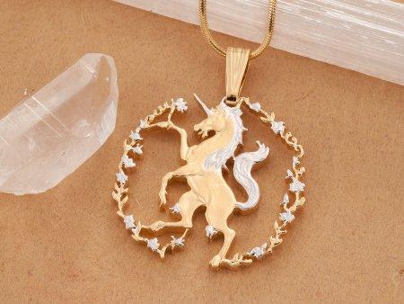 Unicorn Pendant Necklace, Unicorn Jewelry, Mythical Jewelry, Coin Pendant, Jewelry For Woman, Mystical Jewelry,  Cut Coin Jewelry ( # 608B )