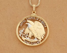"United States Bald Eagle Pendant Necklace, US Walking Liberty Half Dollar Hand Cut,14K Gold & Rhodium Plated, 1 1/4"" in Diam,(#320W ))"