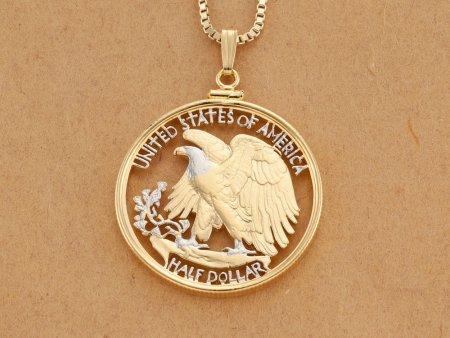 "United States Bald Eagle Pendant Necklace, US Walking Liberty Half Dollar Hand Cut,14K Gold & Rhodium Plated, 1 1/4"" in Diam,(#320W ))"
