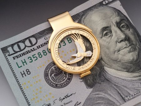 "United States Eagle Money Clip, Hand Cut Sacagawea Dollar Money Clip, 14 K Gold and Rhodium Plated, 1"" X 1 1/2"", ( # 2000BM )"