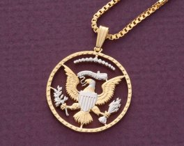 "United States Eagle Pendant and Necklace, Kennedy Half Dollar Coin Hand Cut, 14 Karat Gold and Rhodium Plated, 7/8"" in Diameter, ( # 319B )"