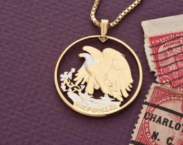 "United States Eagle Pendant and Necklace, US Half Dollar Hand Cut, 14 Karat Gold and Rhodium plated, 1 1/4"" in Diameter, ( #320 )"