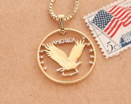 "United States Eagle Pendant and Necklace, US Standing Liberty Quarter Hand Cut, 14K Gold and Rhodium Plated, 1"" in Diameter, ( # 496 )"