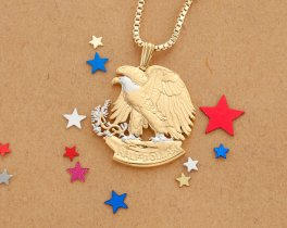 "United States Eagle Pendant and Necklace, Walking Liberty Half Dollar Hand Cut, 14 K Gold and Rhodium Plated, 1 1/4"" in Diameter, ( # 320B )"