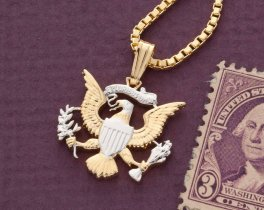 "United States Eagle Pendant & Necklace, Kennedy Half Dollar Eagle Coin Hand Cut, 14K Gold and Rhodium Plated, 7/8"" in Diameter, ( # 318 )"