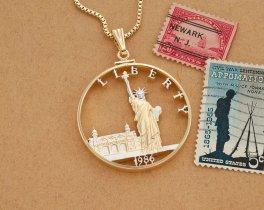 "United States Ellis Island Pendant, Hand cut 1986 United States half dollar, Ellis Island Jewelry, 1 1/2 "" in diameter, ( # EIW )"