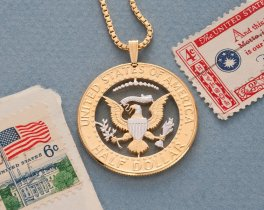 "United States Kennedy Half Dollar Pendant &Necklace, US Eagle Hand Cut, 14 K Gold and Rhodium Plated, 1 1/4 "" in Diameter, (#319)"