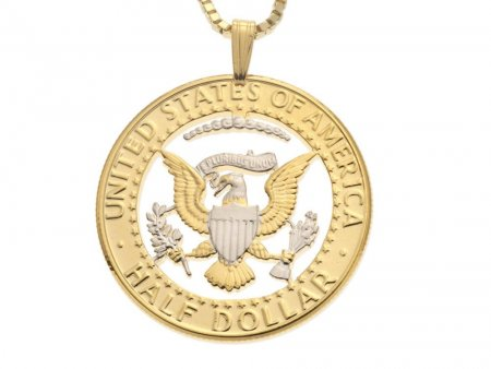 """United States Kennedy Half Dollar Pendant &Necklace, US Eagle Hand Cut, 14 K Gold and Rhodium Plated, 1 1/4 """" in Diameter, (#319)"""