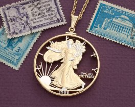 "United States Lady Liberty Pendant, Hand cut United States Silver Eagle Coin, United States Coin Jewelry, 1 5/8"" in diameter, ( # SRW )"