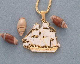 "USS Constitution Pendant and Necklace, United States Medallion Hand cut, 14 Karat Gold and Rhodium plated, 1"" in Diameter, ( # 440 )"