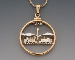 "Utah State Quarter Pendant, Hand Cut United States Utah State Quarter, 14 Karat Gold and Rhodium Plated, 1"" in Diameter, ( # 2045 )"