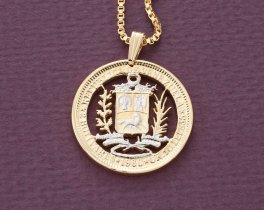 "Venezuela Pendant and Necklace,Venezuela Two Bolivar Coin Hand Cut, 14 Karat Gold and Rhodium plated, 1"" in Diameter, ( # 570 )"