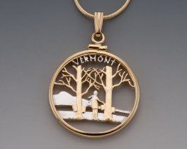 "Vermont State Quarter Pendant, Hand Cut United States Vermont State Quarter, 14 Karat Gold and Rhodium Plated, 1"" in Diameter, ( # 2014 )"