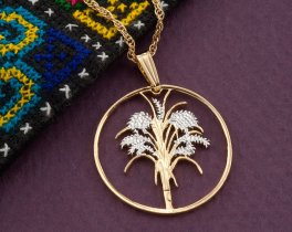 Vietnam Coin Jewelry, Vietnamese Jewelry, Floral Jewelry, Pendant Necklace, Coin Pendant, Ethnic Jewelry, Necklaces For Woman, ( # 304 )