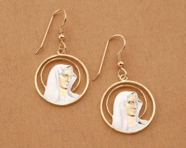 "Virgin Mary Earrings, Hand cut Religious Medallions, Religious Jewelry, 7/8"" in diameter, ( # 527E )"