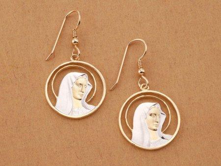 "Virgin Mary Earrings, Hand cut Religious Medallions, Religious Jewelry, 7/8"" in diameter, ( # 527E )"