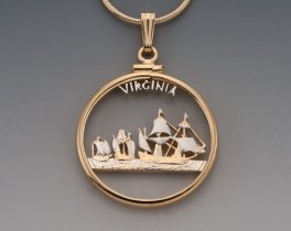 "Virginia State Quarter Pendant, Hand Cut United States Virginia State Quarter, 14 K Gold and Rhodium PLated, 1"" in Diameter, ( # 2010 )"