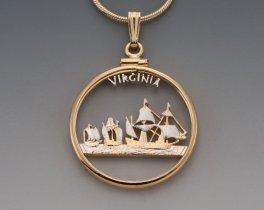 "Virginia State Quarter Pendant, Hand Cut United States Virginia State Quarter, 14 K Gold and Rhodium PLated, 1"" in Diameter, ( # 2010 )"