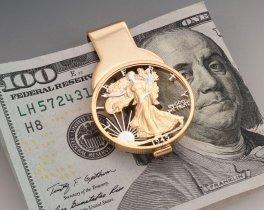 "Walking Liberty Half Dollar Money Clip, Hand Cut United States Walking Liberty Half Dollar Money Clip, 1 1/4"" in Diameter, ( # 322M )"