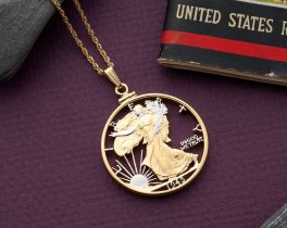 "Walking Liberty Half Dollar Pendant and Necklace, US Half Dollar Hand Cut, 14 Karat Gold and Rhodium plated, 1 1/4"" in Diameter, ( # 322 )"
