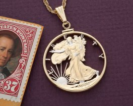 "Walking Liberty Half Dollar Pendant and Necklace, US Half Dollar Hand Cut, 14 Karat Gold and Rhodium plated, 1 1/4"" in Diameter, ( # 323 )"