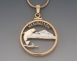 "Washington State Quarter Pendant, Hand Cut United States Washington Quarter,14 Karat Gold and Rhodium PLated, 1"" in Diameter, ( #2042 )"