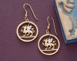 """Welsh Dragon Coin Earrings, Wales One OUnd Coin Hand Cut, 14 Karat Gold and Rhodium plated, 14 K G/F Wires, 7/8"""" in Diameter, ( # 483E )"""