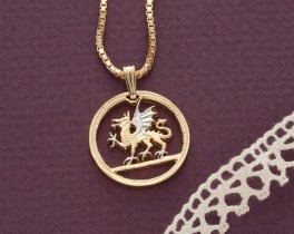 """Welsh Dragon Pendant and Necklace, Wales One Pound Coin hand Cut, 14 Karat Gold and Rhodium plated, 7/8"""" in Diameter, ( # 483 )"""