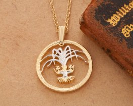 """Welsh Leek Pendant and Necklace, Welsh One Pound Coin Hand Cut, 14 Karat Gold and Rhodium plated, 7/8"""" in Diameter, ( # 135 )"""