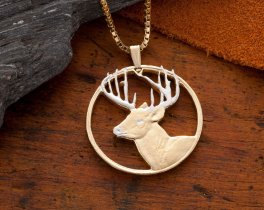 "White Tail Deer Pendant & Necklace, Hand Cut White Tail Deer, 14 Karat Gold and Rhodium Plated, 1 1/2"" in diameter, ( # 802 )"