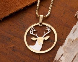 White Tail Deer Pendant & Necklace, Belize White Tail Deer Coin Hand Cut, 14 Karat Gold and Rhodium Plated, ( # 650 )