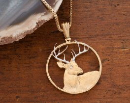 "Whitetail Deer Pendant and Necklace, Whitetail Deer Wild Life Medallion Hand Cut,14 K Gold and Rhodium Plated,1 1/8"" in Diameter, ( # 914 )"
