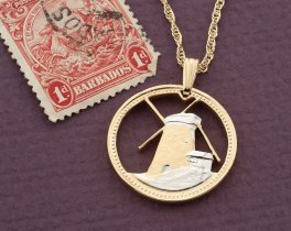 "Windmill Pendant, Windmill Jewelry, Barbados Coin Jewelry, World Coin Jewelry, 1"" in diameter, ( # 684D )"