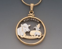 "Wisconsin State Quarter Pendant, Hand Cut United States Wisconsin Quarter, 14 Karat Gold and Rhodium Plated, 1"" in Diameter, ( # 2030 )"