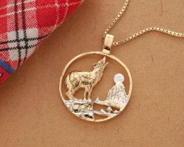 "Wolf and Moon Pendant and Necklace, Private Mint Medallion Hand Cut, 14 Karat Gold and Rhodium Plated, 1 1/4"" in Diameter, ( # 554 )"