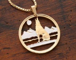 "Wolf Pendant and Necklace, Canada 50 Cents Coin Hand Cut, 14 Karat Gold and Rhodium Plated, 1 1/8"" in Diameter, ( # 55 )"