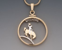 "Wyoming State Quarter Pendant, Hand Cut United States Wyoming State Quarter, 14 Karat Gold and Rhodium Plated,1"" in Diameter, ( # 2044 )"