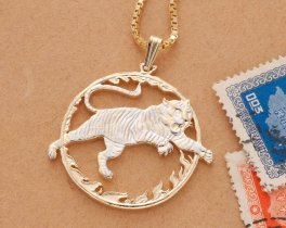 "Year Of The Tiger Pendant and Necklace, Chinese Coin Hand Cut, 14 Karat Gold and Rhodium Plated, 1 1/4"" in Diameter, ( # 558 )"