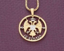 "Yugoslavian Pendant and Necklace, Yugoslavia 10 Dinara Coin Hand Cut, 14 Karat Gold and Rhodium Plated, 7/8"" in Diameter, ( # 856 )"