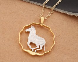 "Zebra Pendant and Necklace, African Wild Life Jewelry, Zebra Jewelry, 1 "" in diameter ( # 40D )"